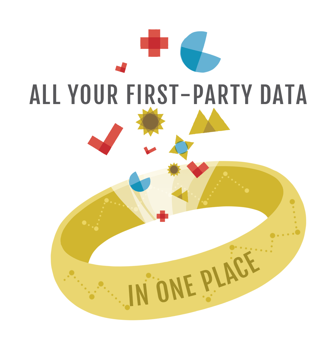 """Shapes being pulled into a ring that has a line graph on it. Text says: """"All your first-party data in one place"""""""